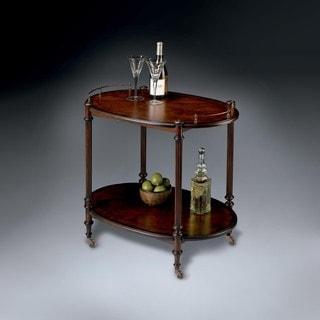 Butler Kathleen Cherry Brown Wood and Brass Tea Server