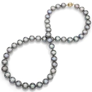 DaVonna 14k Yellow Gold 8.5-9.5 mm Gray Freshwater Cultured Pearl Strand Necklace (18 inches)