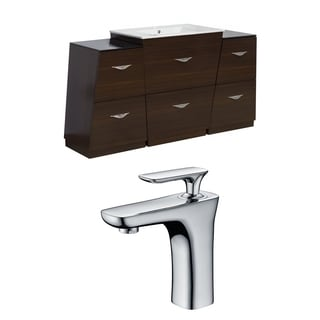 67-in. W x 18.5-in. D Plywood-Melamine Vanity Set In Wenge With Single Hole CUPC Faucet