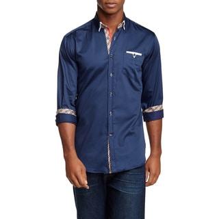 Banana Lemon Men's Kobe Blue Cotton Long Sleeve Solid Shirt with Designer Pocket