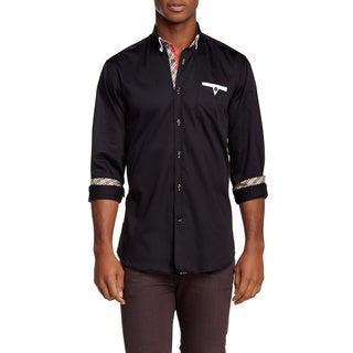 Banana Lemon Men's Troy Black Cotton Long Sleeve Solid Shirt with Designer Pocket