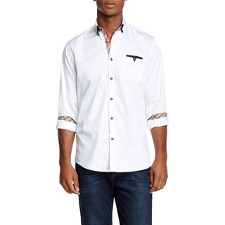 Banana Lemon Men's Rick Long-sleeved Solid White Shirt with Designer Pocket