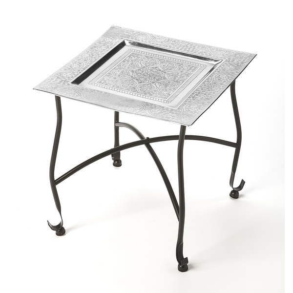 Handmade Bahia Silver Moroccan Tray Table (India). Opens flyout.