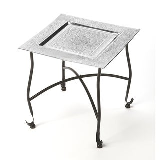 Butler Bahia Silver Aluminum, Iron Moroccan Tray Table