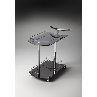 Butler Penelope Black Glass Serving Cart