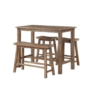 Boraam Ind. Sonoma Brown Wood 4-piece Pub Set With Table, Dining Bench, and 2 Stools