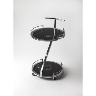 Butler Gigi Modern Black Glass Serving Cart