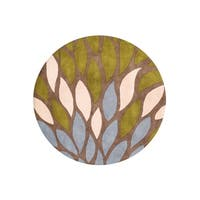 Alliyah 'A Colorful Palette' Flower Petals Tobacco Brown Organic Round Wool Rug - 6'
