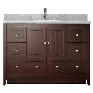 47.5-in. W x 18-in. D Plywood-Veneer Vanity Set In Walnut