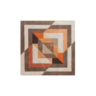 Alliyah Picassoesque Tobacco Brown Overlapping Abstract Wool Rug (6' x 6')