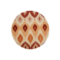 Alliyah Ikat Orange Ancient Textile Handmade Rug - 6' x 6'