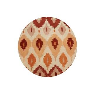 Alliyah Ikat Orange Ancient Textile Handmade Rug (6' Round)