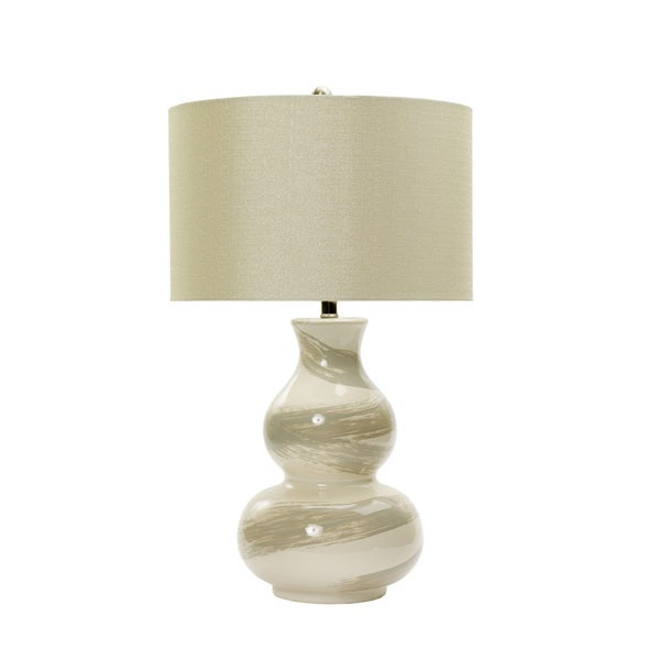 28-inch Swirl Ceramic Table Lamp in White with Transparent Grey Brushstrokes