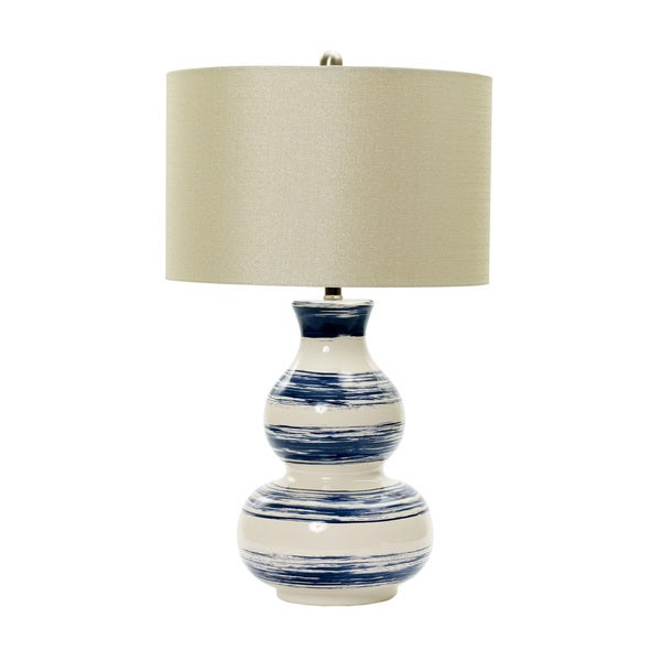 28-inch Striped Ceramic Table Lamp in White with Navy Brushstrokes.