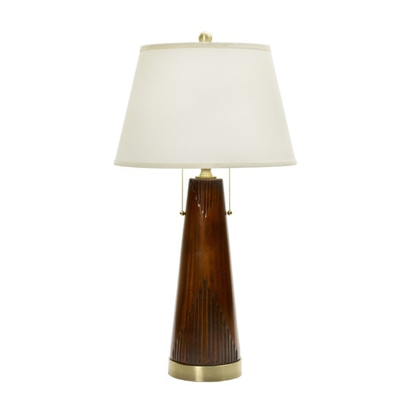 31-inch Modern Wood Grain Table Lamp in Fruitwood Finish