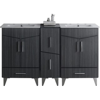 60-in. W x 17-in. D Plywood-Melamine Vanity Set In Dawn Grey