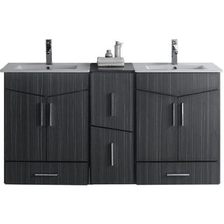 60-in. W x 17-in. D Plywood-Melamine Vanity Set In Dawn Grey