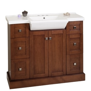 40-in. W x 18-in. D Birch Wood-Veneer Vanity Set In Cherry