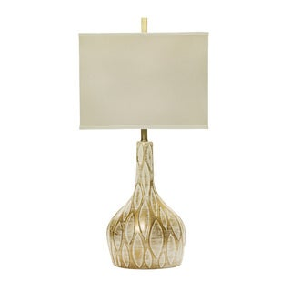 32-inch Ceramic Table Lamp with Brushed Gold Over White Finish.