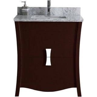 29.45-in. W x 18.03-in. D Birch Wood-Veneer Vanity Set In Coffee