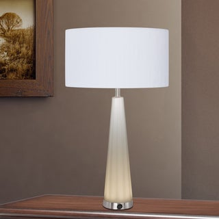 29-inch Frosted Glass & Satin Nickel Metal Table Lamp with LED Night Light
