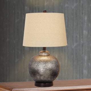 24 Inch Antique Brown Mercury Glass And Oil Rubbed Bronze Metal Table Lamp