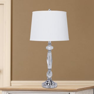 27.65-inch Clear Crystal & Chrome Metal Table Lamp