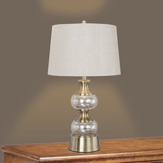 29.5-inch Stacked Champagne Glass Table Lamp with Antique Brass Metal Accents