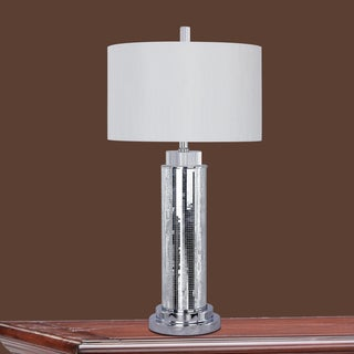30-inch Silver Mosaic & Metal Table Lamp
