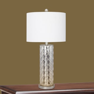 28-inch Antique Gold Metal & Mercury Glass Table Lamp with Nightlight.