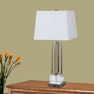 30-inch Crystal & Antique Brass Metal Table Lamp with LED Night Light