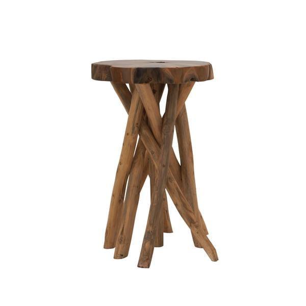 Distinctive teak wood stool inch wide high