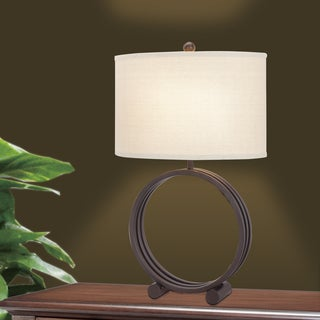 26.5-inch Oil Rubbed Bronze Metal Circle Table Lamp