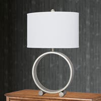 26.5-inch Champagne Gold Metal Circle Table Lamp