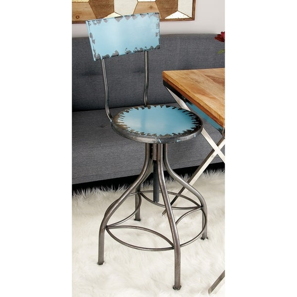 Shop Rustic 41 Inch Teal Iron Bar Chair With Backrest By