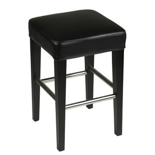 Cortesi Home Black Leather/Metal/Wood Counter Stool