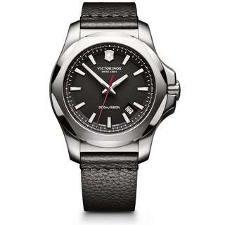 Victorinox Men's INOX 241737 Black Leather Watch