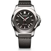 Victorinox Men's INOX  Black Leather Watch