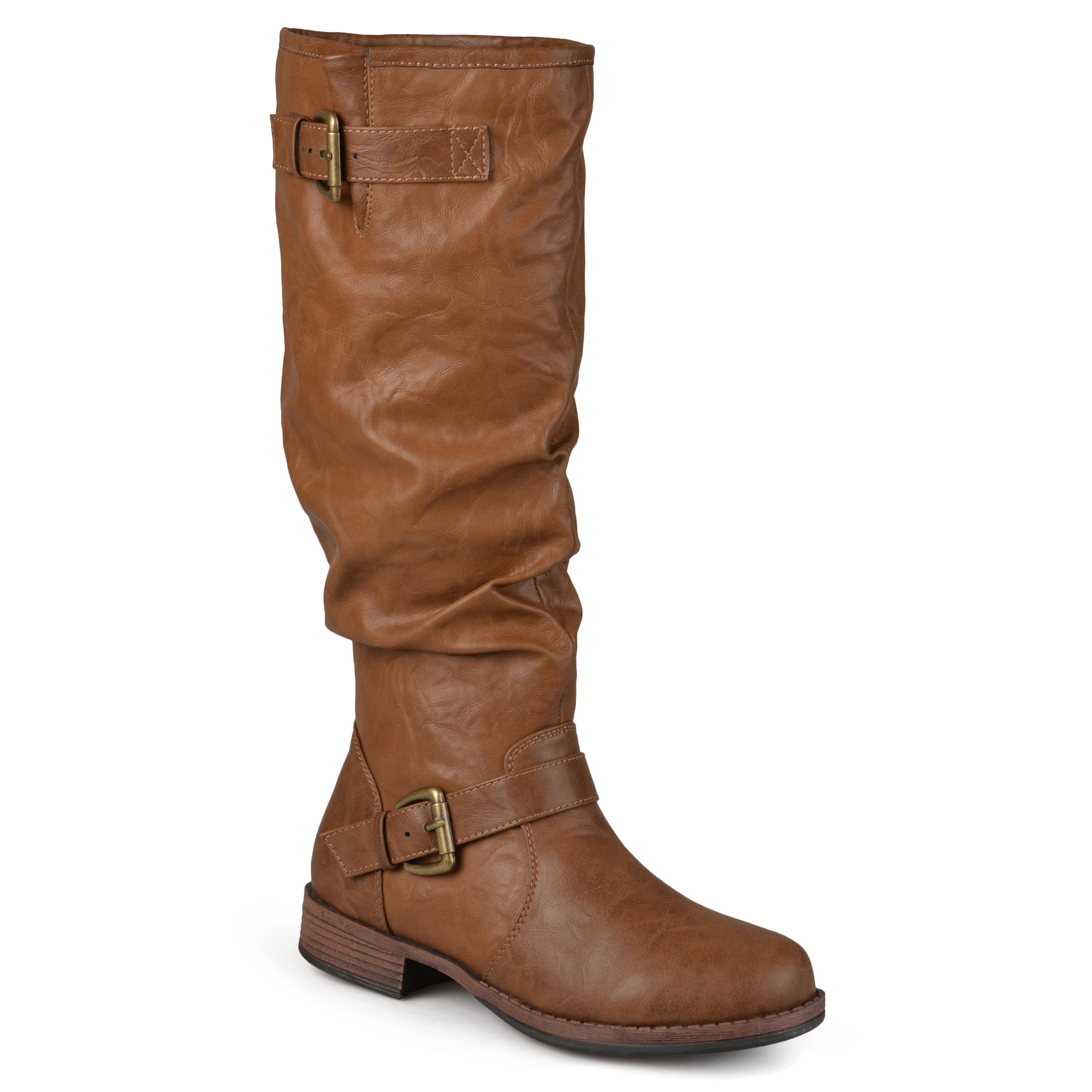 novel style best loved top-rated professional Journee Collection Women's Extra Wide-Calf 'Stormy' Knee-High Buckle Riding  Boot