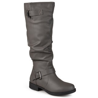 Journee Collection Women's Extra Wide-Calf 'Stormy' Knee-High Buckle Riding Boot