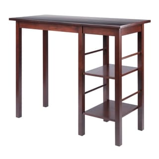 Winsome Wooden Egan Dining Breakfast Table with Two Side Shelves