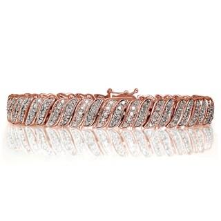 DB Designs Rose Goldtone 1ct TDW Diamond Wave Link Tennis Bracelet