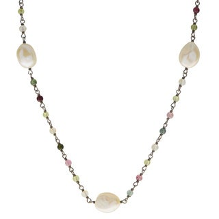 Pearls For You Sterling Silver White Baroque Fshwater Pearl and Tourmaline 18-inch 9-10-millimeter Necklace