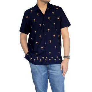 La Leela Men's Navy Blue and Beige Smooth Rayon Front Pocket Palm Tree Camp Shirt