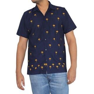 LaLeela Men's Yellow Palm Tree Navy Blue Soft Rayon Camp Front Pocket Shirt