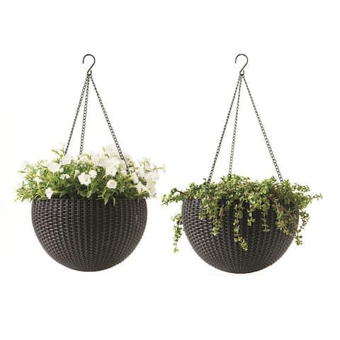 Keter Round Rattan Plastic Resin Garden Hanging Planters (Set of 2)