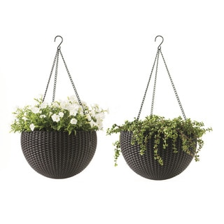 Keter Brown Resin 13.8-inch Round Hanging Planters (Set of 2)