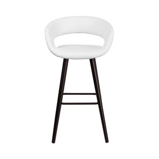 Offex Brynn Series OF-CH-152560-W-VY-GG White Vinyl Upholstery and Cappuccino Wood Frame 29-inch Contemporary Barstool