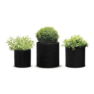 Keter Brown Plastic Resin Rattan Round Cylinder 3-piece Garden Planter Set