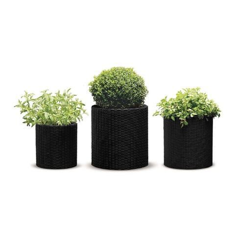 Keter Round Cylinder Plastic Resin Rattan Garden Planters 3-Piece Set